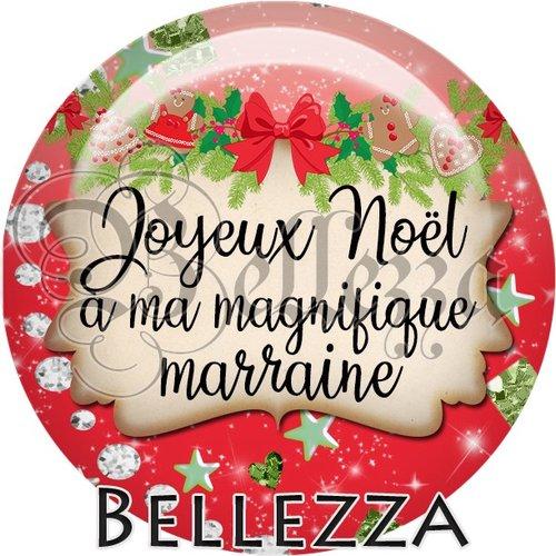 Cabochon résine 25mm, noël, joyeux noël à ma magnifique marraine, fêtes de fin d'année, hiver, sapin, flocons, événementiel
