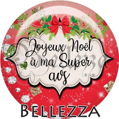 Cabochon résine 25mm, noël, joyeux noël à ma super avs, fêtes de fin d'année, hiver, sapin, flocons, événementiel
