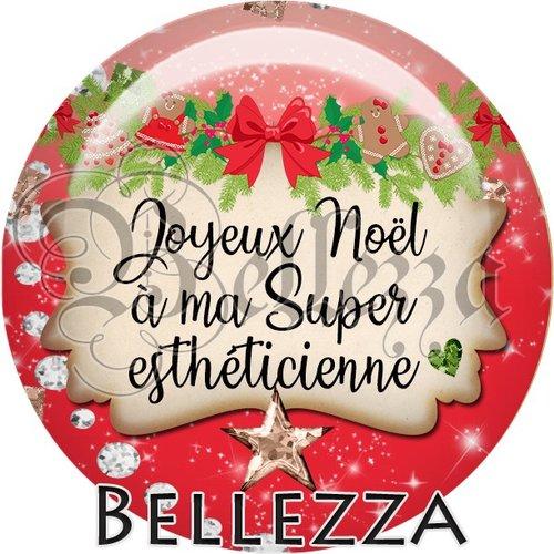 Cabochon résine 25mm, noël, joyeux noël à ma super esthéticienne, fêtes de fin d'année, hiver, sapin, flocons, événementiel