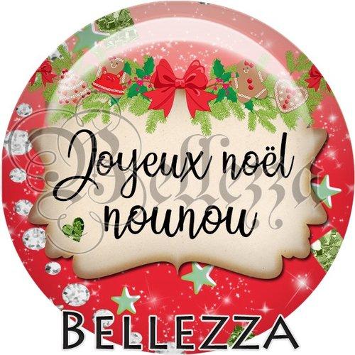 Cabochon résine 25mm, noël, joyeux noël nounou, fêtes de fin d'année, hiver, sapin, flocons, événementiel