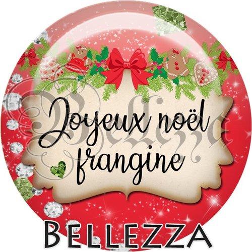 Cabochon résine 25mm, noël, joyeux noël frangine, fêtes de fin d'année, hiver, sapin, flocons, événementiel
