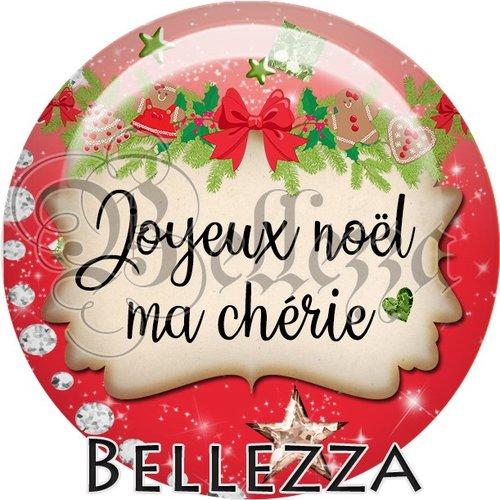 Cabochon résine 25mm, noël, joyeux noël ma chérie, fêtes de fin d'année, hiver, sapin, flocons, événementiel