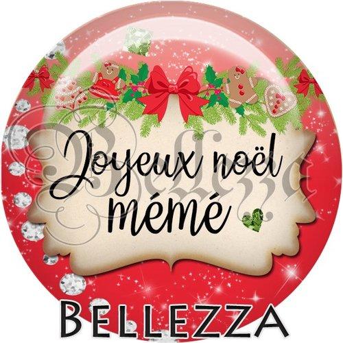 Cabochon résine 25mm, noël, joyeux noël mémé, fêtes de fin d'année, hiver, sapin, flocons, événementiel