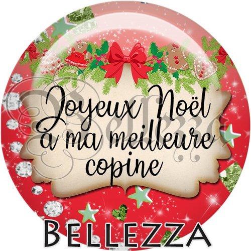 Cabochon résine 25mm, noël, joyeux noël à ma meilleure copine, fêtes de fin d'année, hiver, sapin, flocons, événementiel
