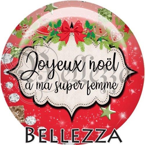 Cabochon résine 25mm, noël, joyeux noël à ma super femme, fêtes de fin d'année, hiver, sapin, flocons, événementiel