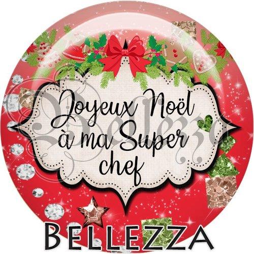 Cabochon résine 25mm, noël, joyeux noël à ma super chef, fêtes de fin d'année, hiver, sapin, flocons, événementiel