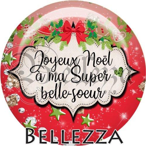 Cabochon résine 25mm, noël, joyeux noël à ma super belle sœur, fêtes de fin d'année, hiver, sapin, flocons, événementiel