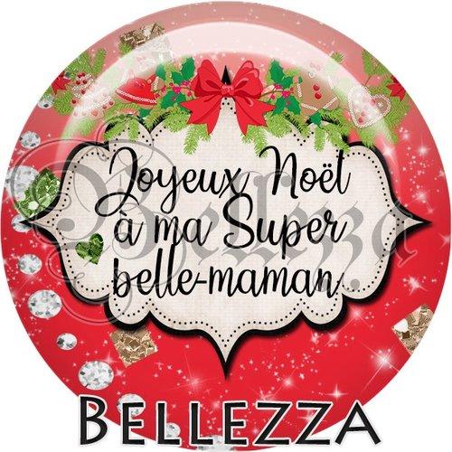 Cabochon résine 25mm, noël, joyeux noël à ma super belle maman, fêtes de fin d'année, hiver, sapin, flocons, événementiel
