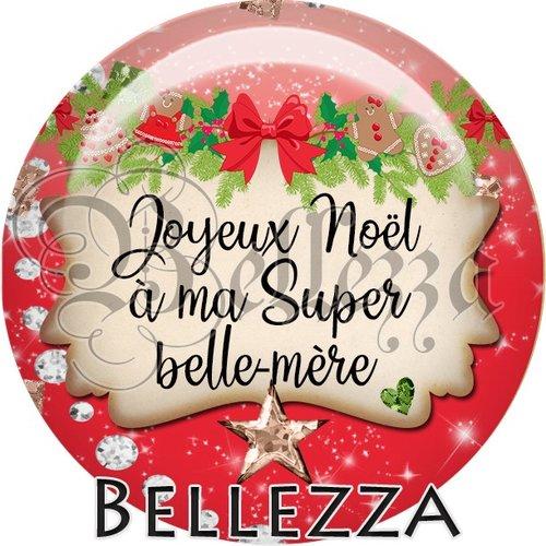 Cabochon résine 25mm, noël, joyeux noël à ma super belle mère, fêtes de fin d'année, hiver, sapin, flocons, événementiel