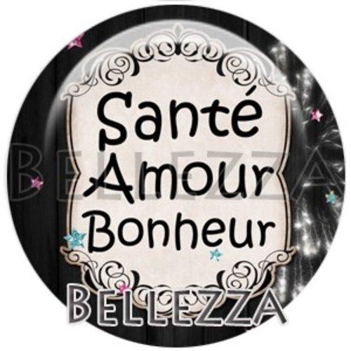 Cabochon résine 25mm, bonne année, santé, amour, bonheur, fêtes de fin d'année, hiver, confettis, champagne, événementiel
