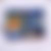 Porte -monnaie en coton oeko tex imprimé alice et des vagues dans des tons de bleu avec des pointes de doré