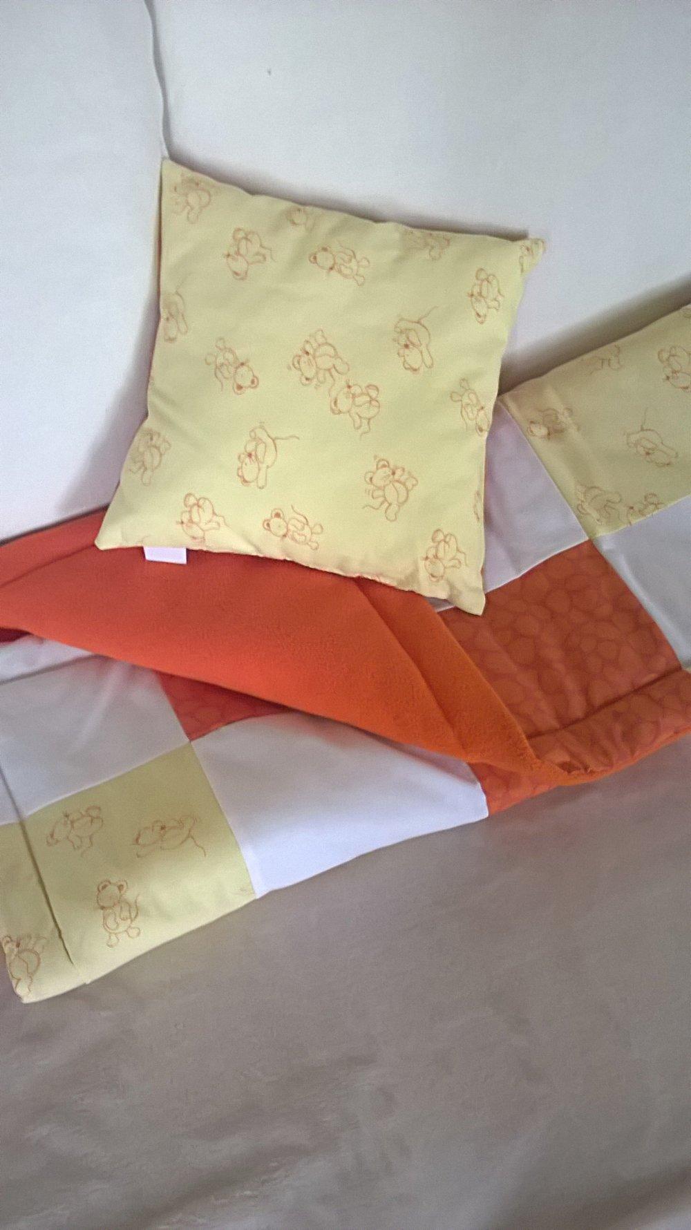 Plaid, couverture patchwork et coussin, cadeau naissance