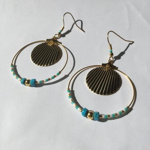 Boucles d'oreilles dorées, créoles dorées, perles miyuki,