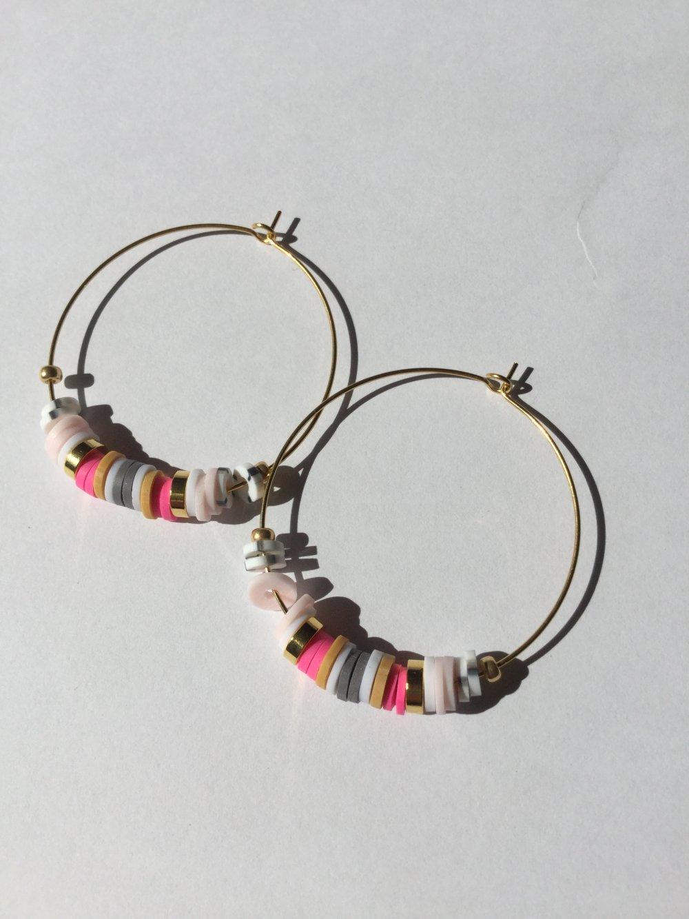 Créoles perles Heishi, boucles d'oreilles dorées, perles heishi