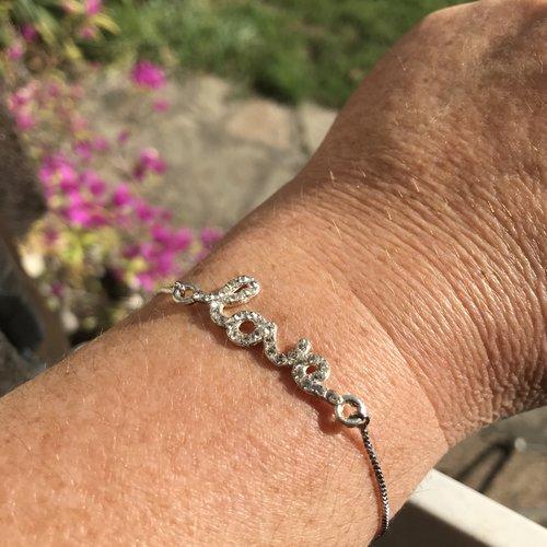 Bracelet fin, bracelet chaîne, love