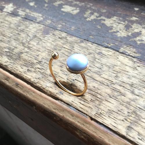 Bague plaquée or, bague perle bleue, anneau ajustable