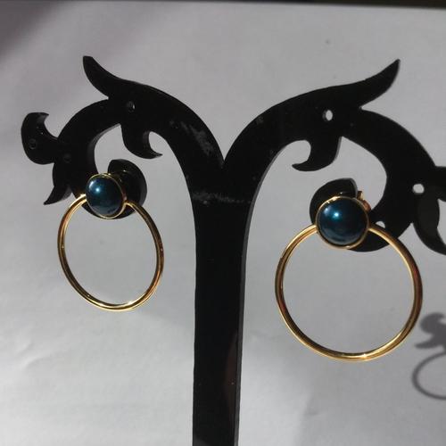 Clous d'oreilles anneaux, boucles d'oreilles à cabochons, boucles plaqué or