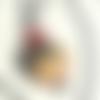 """""""japon safran"""" pendentif orange noir médaillon porcelaine portrait pierres gemmes cornaline obsidienne chaîne billes acier inox gun"""