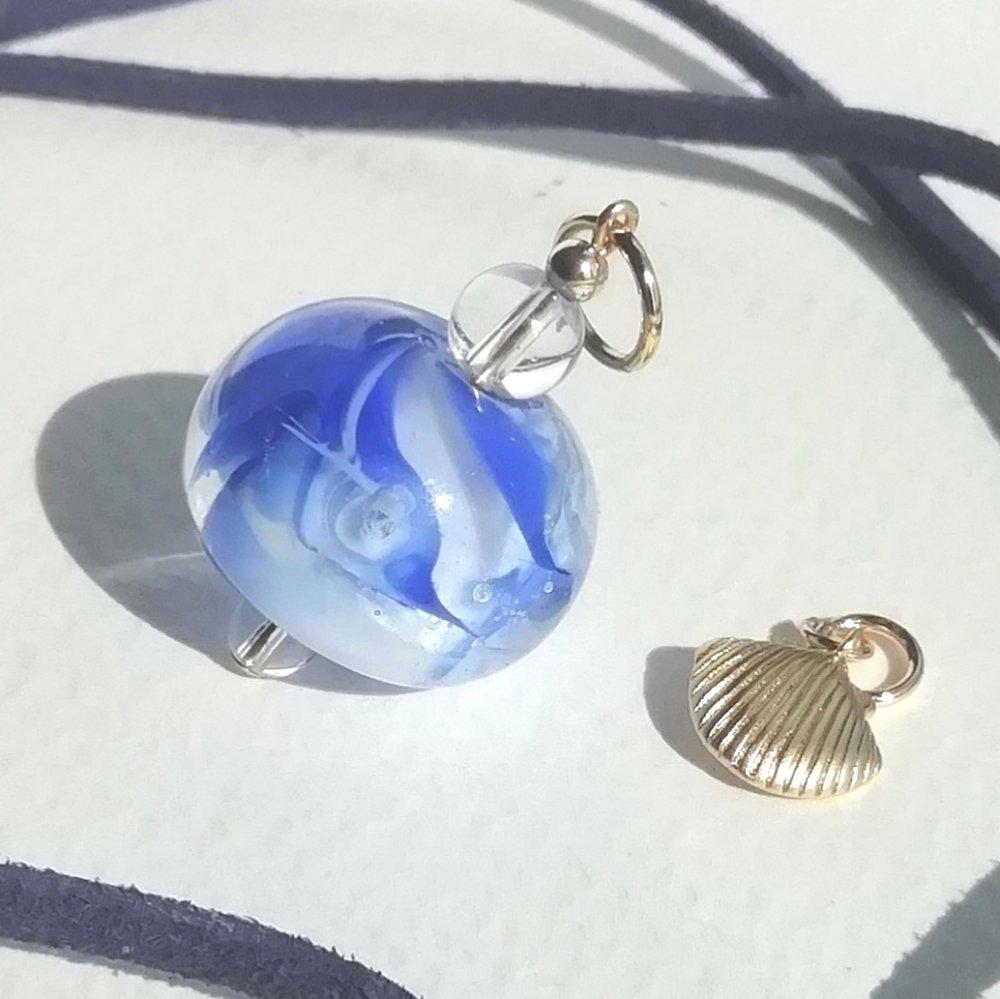 """*réservé* Pendentif """"rivage bleu"""" verre murano cristal plaqué or coquillage"""