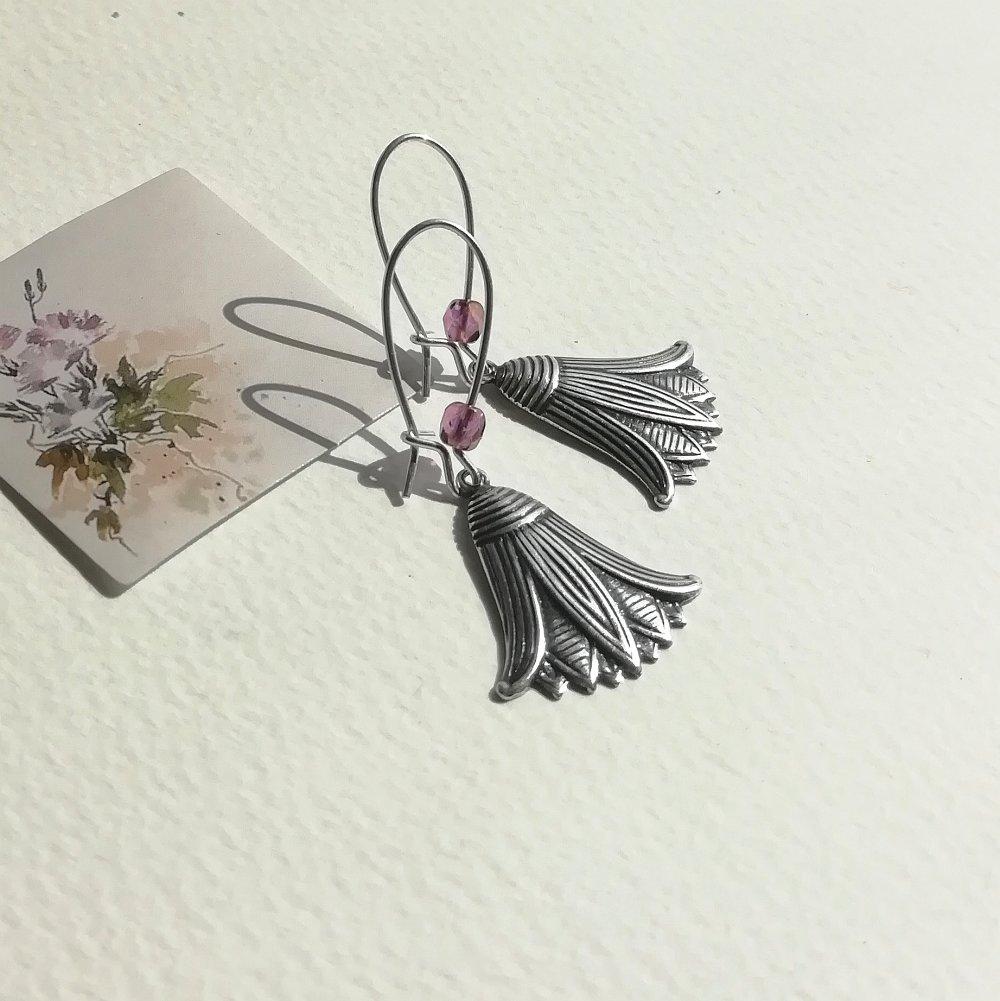 Boucles d'oreilles argentées fleurs lotus du nil et attaches en plaqué argent