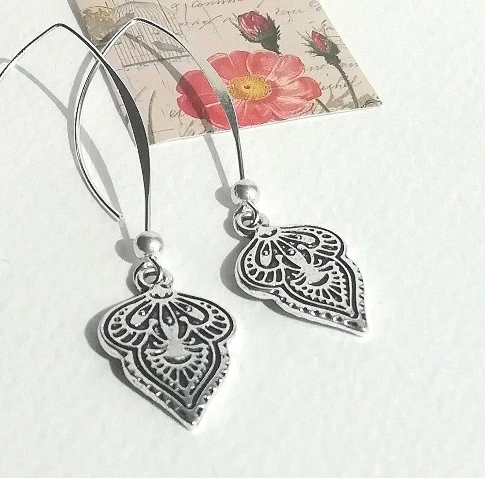 """boucles d'oreilles """"arabesques"""" plaqué argent motif oriental grandes attaches perles argent"""