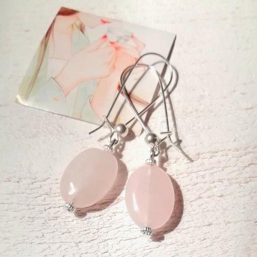 """""""journée zen"""" boucles d'oreilles quartz rose perles ovales attaches plaqué argent 925"""