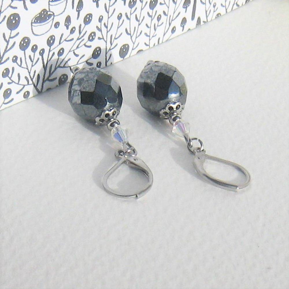 """"""" chic métallic """" boucles d'oreilles verre tchèque gris foncé métallique cristal coupelles attaches acier inox"""