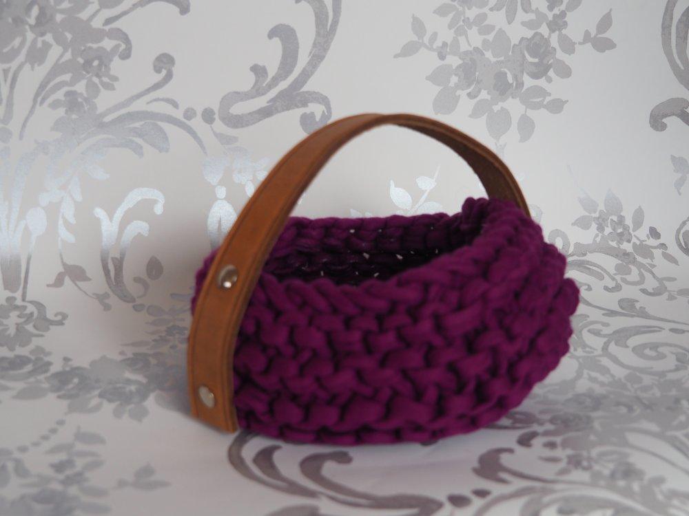 Panier rond tricoté