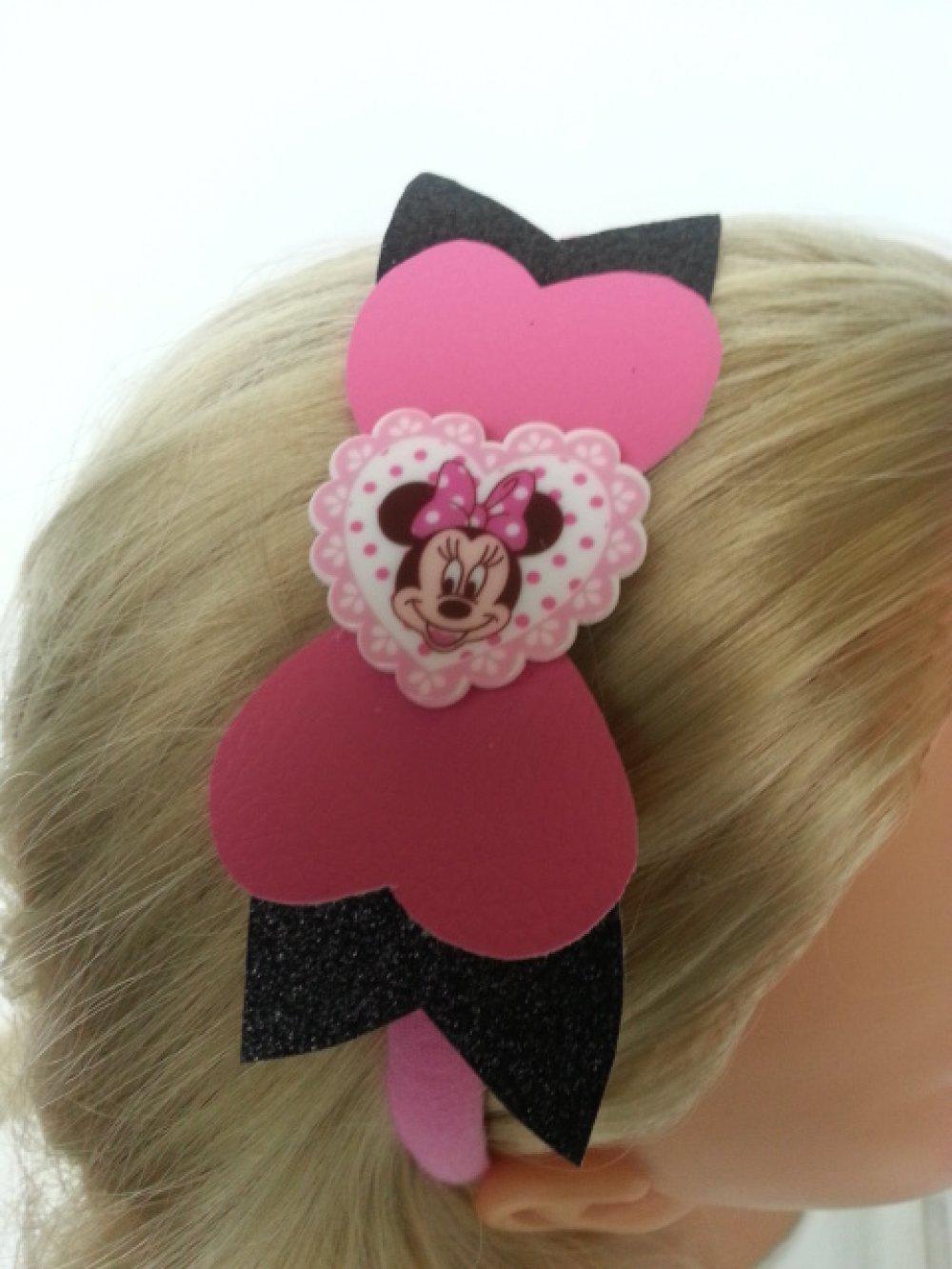 serre tête avec noeud simili cuir rose et noir cabochon coeur minnie
