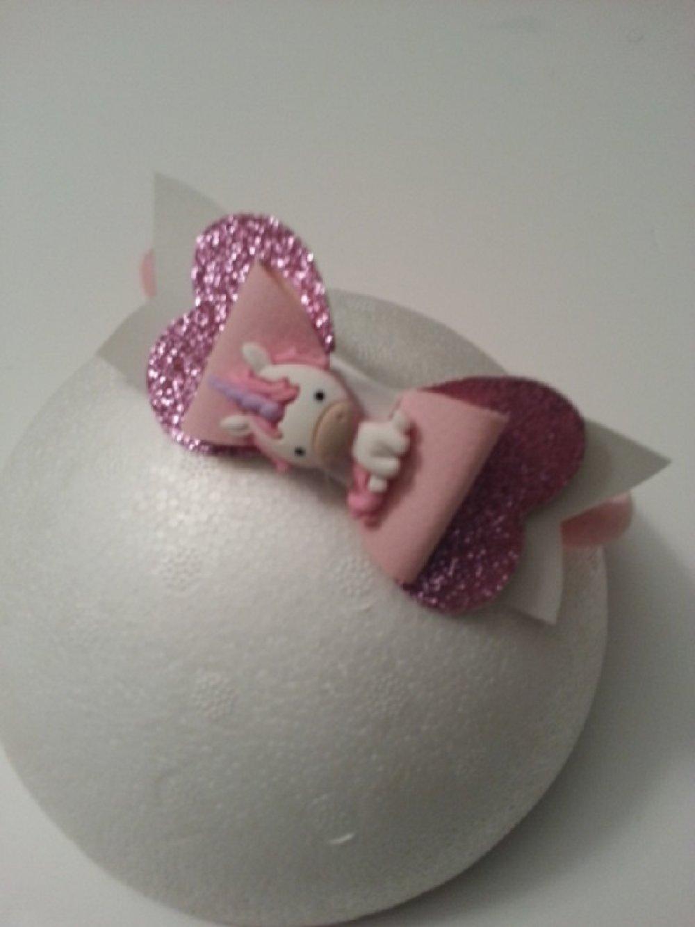 serre tête avec noeud simili cuir rose et blanc cabochon licorne rose