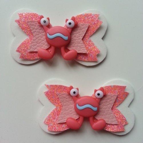 Lot de 2 barrettes noeud monstre blanc et rose saumon