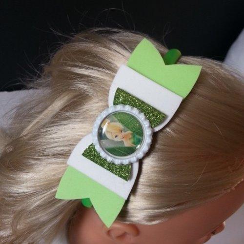 Serre tête noeud vert et blanc fée clochette
