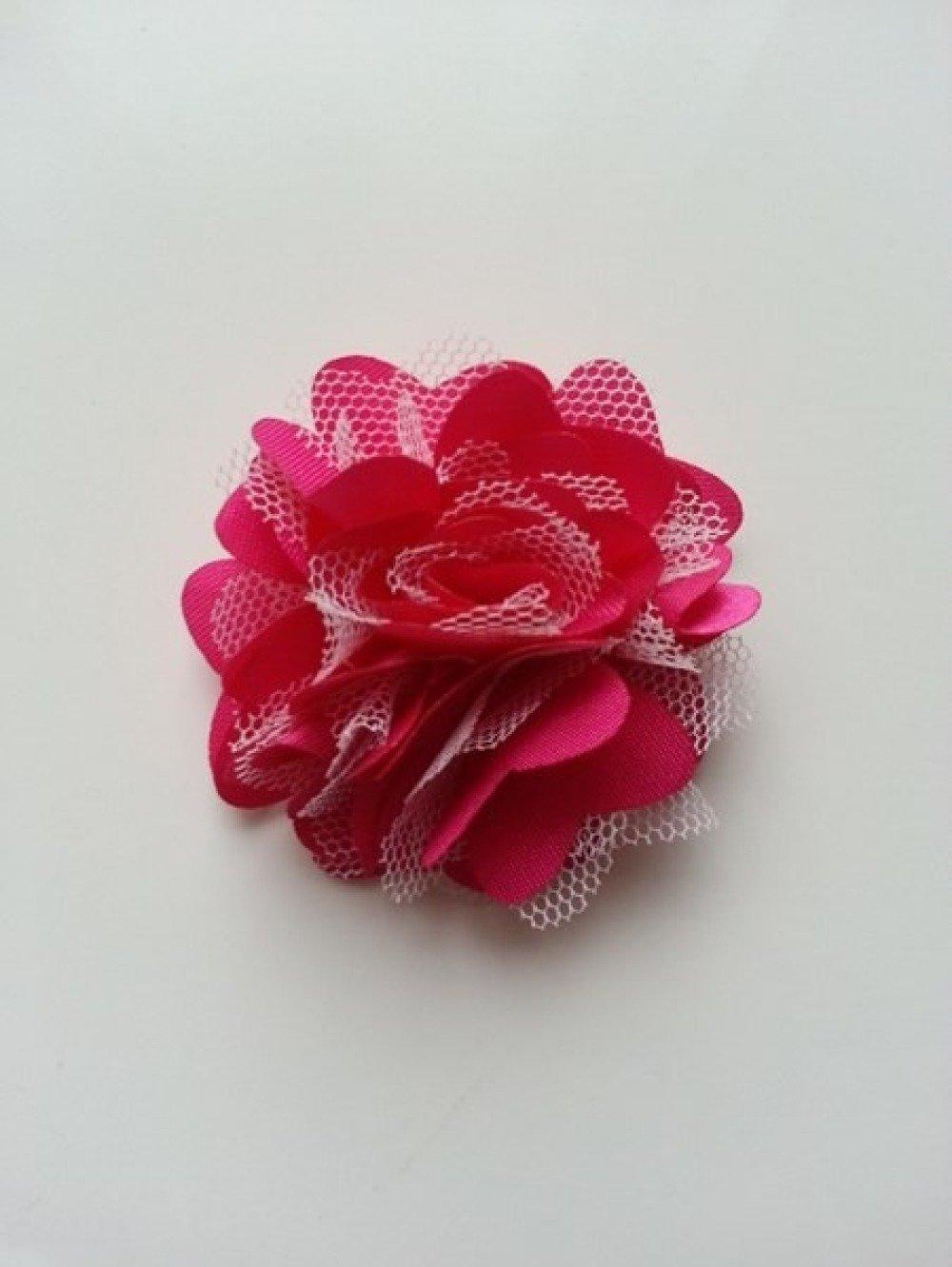 rosette  fleur  satin et tulle rose fuchsia et blanc  50mm