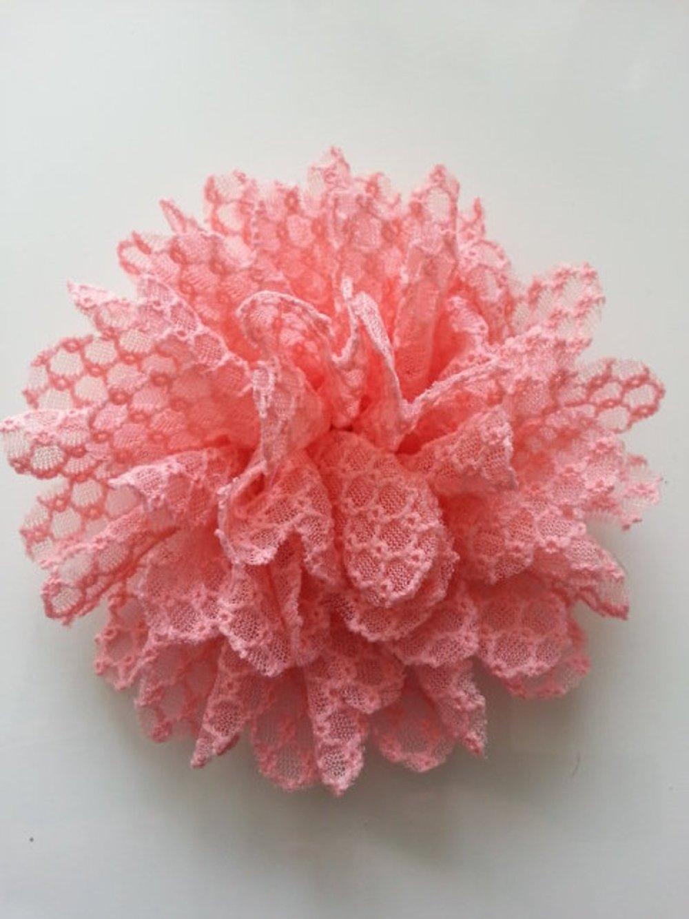 fleur gauffrée pêche abricot 85mm