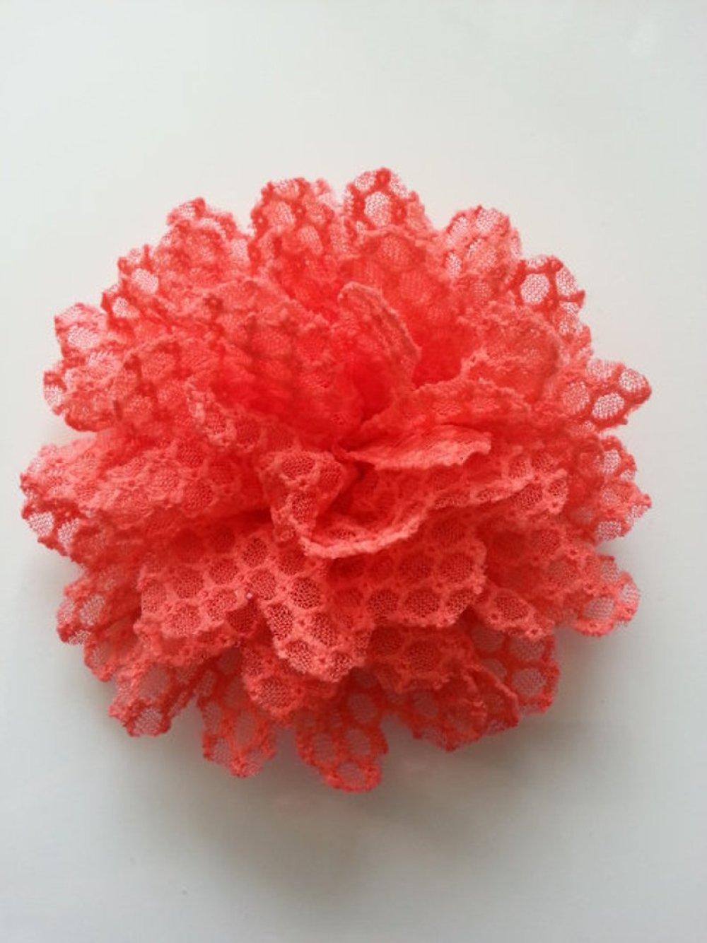 fleur gauffrée orange 85mm