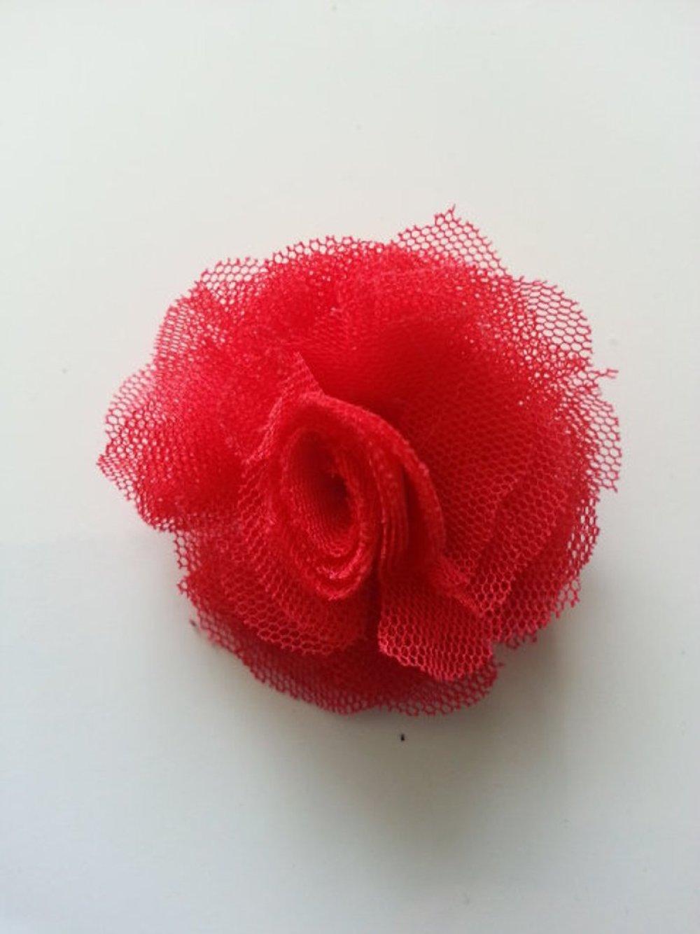 fleur tulle rouge 50mm