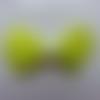 Noeud en satin  et demi perle blanche 42*55mm jaune