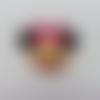 Cabochon plat en résine tête souris  minnie noeud rose 30*30mm