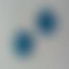Lot de 2 fleurs en dentelle   30mm bleu turuoise