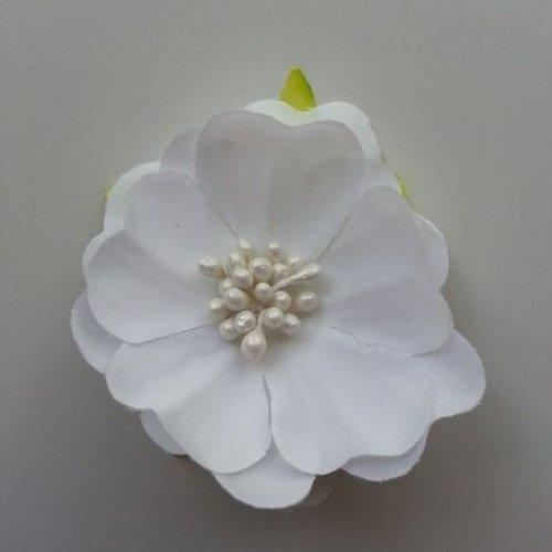 Fleur tissu et pistils blanc 50mm