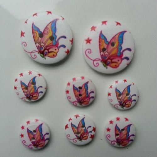 Lot de 8 boutons ronds en bois motif papillon    2*30mm et  6*18mm