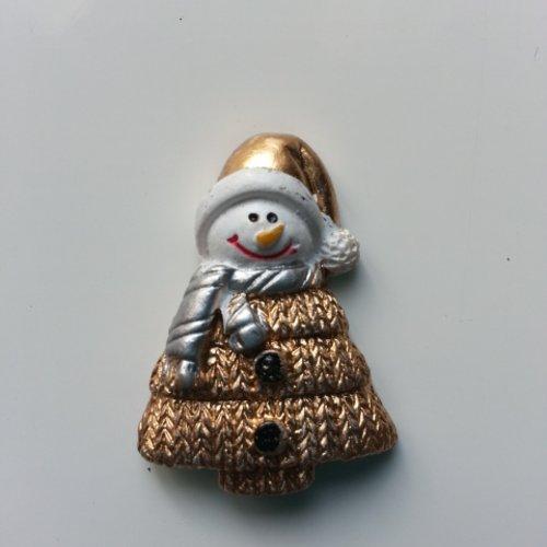 Bonhomme de neige , sapin de noel doré, or 25*35mm