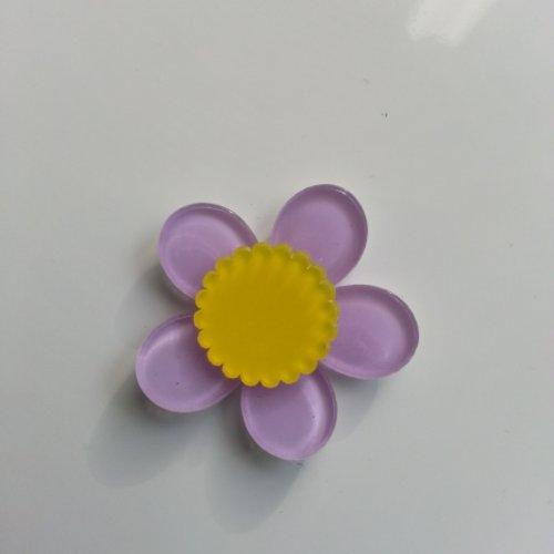 Fleur en plastique 36mm jaune et mauve