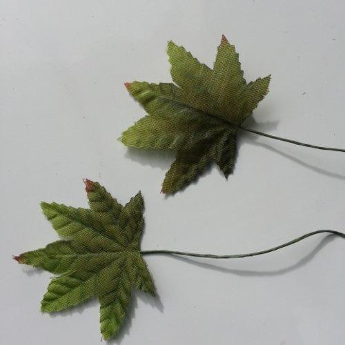 Lot de 2 feuilles artificielles vertes sur tige  50*40mm