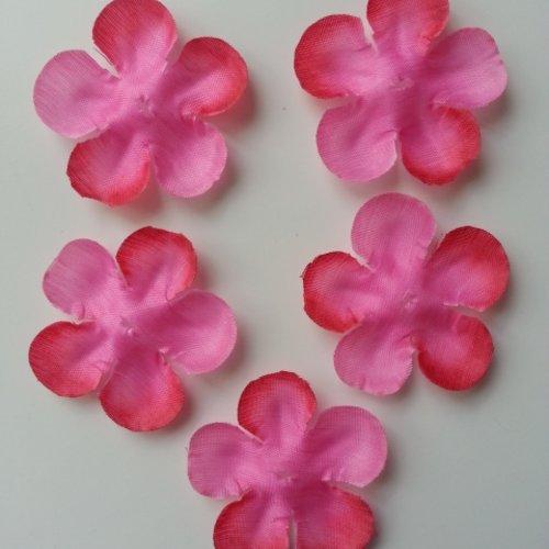 Lot de 5 fleurs en tissu rose  fuchsia 50mm