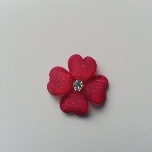 Fleur en résine avec strass au centre 20 mm rose fuchsia