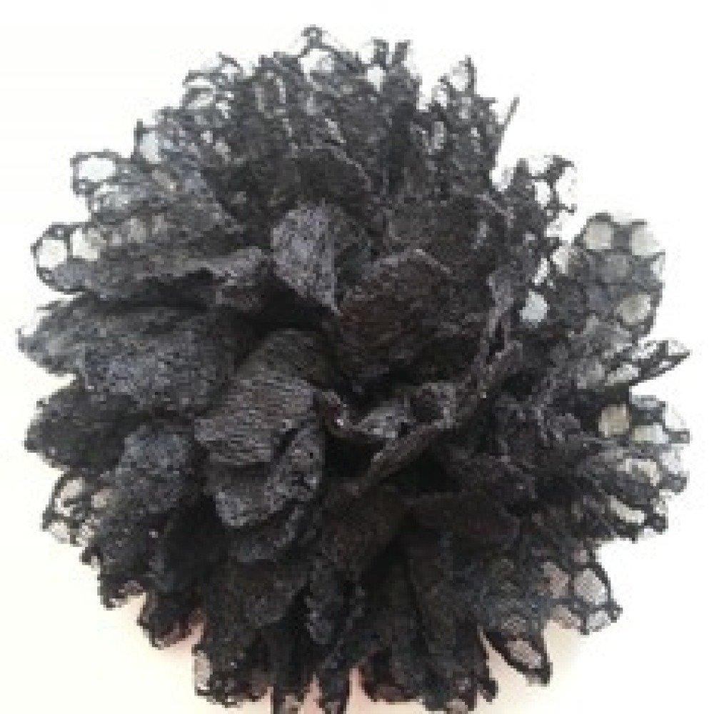 fleur gauffrée noire 85mm