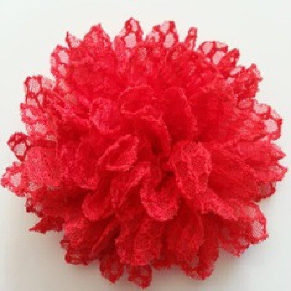 fleur gauffrée rouge 85mm