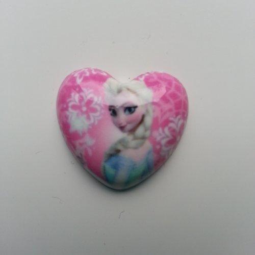 Cabochon en résine  coeur elsa reine des neiges  25mm rose