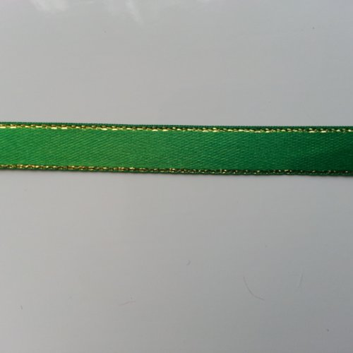1 metre de ruban vert liseré or  de   10mm